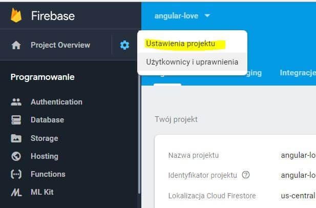 Ustawienia projektu - firebase