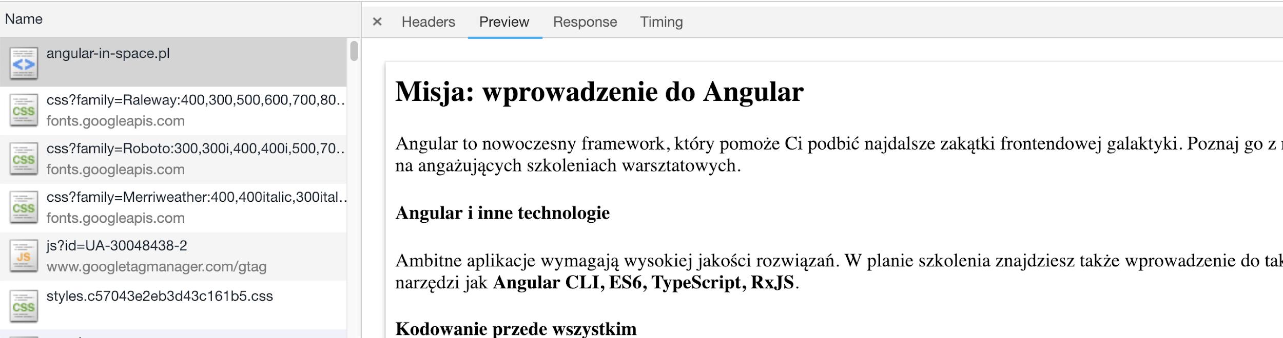 Misja wprowadzenia do angular - preview